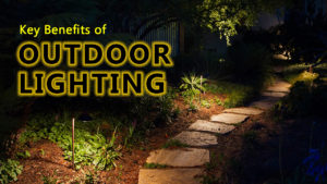 Stone Path Lit By Outdoor Lighting Fixtures
